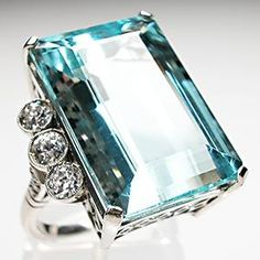 Vintage Natural Aquamarine & Old Euro Cut Diamond Cocktail Ring Solid Platinum