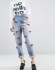 ASOS | WAH LONDON x ASOS Boyfriend Jeans With Velvet Bows