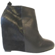 371b9310edb3 POUR LA VICTOIRE Gianni Ankle Boot Calf Hair Platform Wedge Black Pony  Booties 9  PourLaVictoire  Booties  Casual