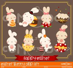 Easter Bunny Clipart / Rabbit Digital Clip Art for Commercial and Personal Use / INSTANT DOWNLOAD by comodo777 on Etsy