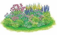 Die Höhenstaffelung und der Farbdreiklang aus rosa, violetten und gelben Blüten machen den Reiz dieser Bepflanzung aus.