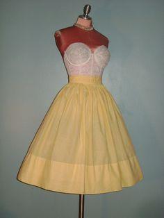 50s skirt 1950s vintage YELLOW WHITE GINGHAM check cotton pleat waist full skirt