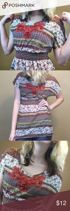 Sheer print short sleeve Sheer print short sleeve shirt with burnt orange jeweled chest detail Vanity Tops Blouses