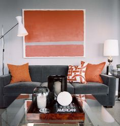Might try to replicate this painting for the living room. Dark gray and orange really appeal to me right now