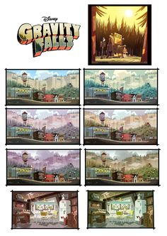 """Such detailed and cartoony backgrounds from """"Gravity Falls"""".  Love them"""