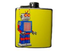 Robot Decorated Stainless Steel Flask 6oz - FN167 . $16.00. This very unique flask is decorated with a durable image on the front only. The flask holds 6oz of your favorite liquor.