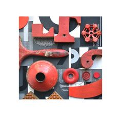 mixed media assemblage, typography vintage sign letters blocks 'Black and White and RED all over' ORIGINAL by Elizabeth Rosen