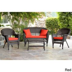 Espresso Wicker 4-piece Patio Conversation Set | Overstock.com Shopping - Big Discounts on Wicker Lane Sofas, Chairs & Sectionals