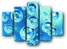 DecoArt24.pl Pięcioczęściowy obraz na płótnie zatytułowany Wodne bańki.  Autorstwa: Elen Cena 299.00