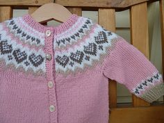 Ravelry: Baby Annabell pattern by Trine Lise Høyseth Puppenkleid Baby Annabell Baby Cardigan Knitting Pattern, Fair Isle Knitting Patterns, Knitted Baby Cardigan, Knit Baby Sweaters, Knitting Baby Girl, Crochet Baby, Knit Crochet, Knitting Help, Knitting For Kids