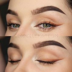 Beautiful look ombre neutral winged eyeliner BROWS: in Chocolate EYES: – Orange Soda, Bengal, Sienna, Hot Chocolate Eye Makeup Tips, Makeup Goals, Skin Makeup, Makeup Inspo, Makeup Inspiration, Beauty Makeup, Makeup Ideas, Orange Eyeshadow, Eyeshadow Looks