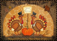 E PATTERN - Give Thanks! Thankful Turkeys, Fall scene in warm colors. Designed & Painted by Sharon Bond. Turkey Painting, Autumn Painting, Tole Painting, Painting On Wood, Painted Jars, Painted Rocks, Pretty Mugs, Rainy Day Crafts, Happy Paintings