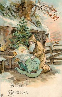 ■ Tuck DB... gold robed Santa kneels by baby Jesus in a cot (first used 23/12/1902)