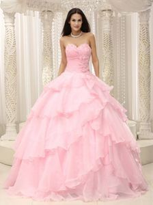 Baby Pink Sweetheart Floor-length Cheap Quince Dresses in Organza