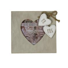 Love Story Wooden Heart Frame Mr. And Mrs. 4x4