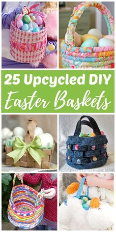 DIY upcycled Easter baskets make it easy to turn trash into a treasure the kids will love! Use recycled materials such as paper, fabric, sweaters, T-shirts, milk jugs, juice cartons, cans, bottles, plastic bags, and even stuffed animals to make your own super cute Easter baskets this spring. Try these eco-friendly Easter baskets ideas today!#easter #eastercrafts #easterbasket #recycling #upcycling #upcycled #crafts #diy #diyeaster #ecofriendly
