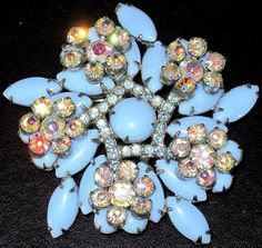 JULIANA BOOK PIECE Blue Milk Glass AB Rhinestone Pin Matching Earrings Separate