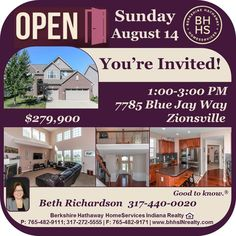 You'll be amazed when you see this home and here is your chance!  Beth is inviting you to 7785 Blue Jay Way in Zionsville this Sunday between 1 and 3 PM.  See It - Love It - Own It!