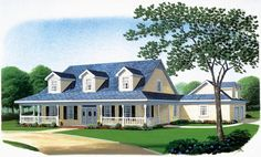 House Plan 90313 | Country Farmhouse Southern Plan with 3072 Sq. Ft., 4 Bedrooms, 4 Bathrooms, 2 Car Garage at family home plans