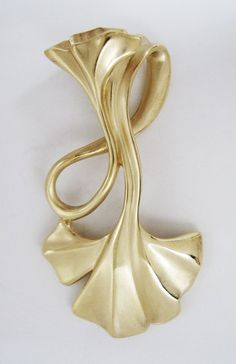 Custom-designed Ginko leaf pendant in 18K yellow gold by goldsmith and designer Whitney Robinson.
