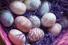Easter Eggs dyed in silk ties.