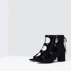 ZARA - WOMAN - LACE-UP BLOCK-HEELED SANDALS