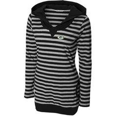 Cutter & Buck Green Bay Packers Women's Topspin Hooded T-Shirt - Black