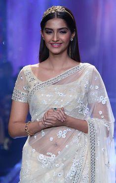 Sonam Kapoor in white transparent Net Saree