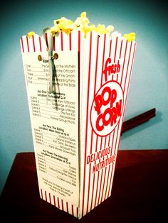 One of the most creative ceremony programs I have seen from my brides. Her wedding was movie themed and we popped fresh popcorn throughout the evening.