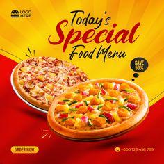 Pizza Menu Design, Food Menu Design, Food Poster Design, Restaurant Menu Design, Food Packaging Design, Restaurant Recipes, Social Media Poster, Social Media Design, Pizza Poster