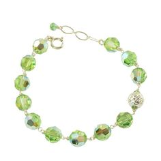 August Birthstone Swarovski crystal bracelet, Peridot | South Paw Studios Handcrafted Designer Jewelry