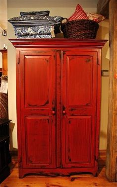 Red Armoire Inspiration. Thinking about painting my armoire like this.