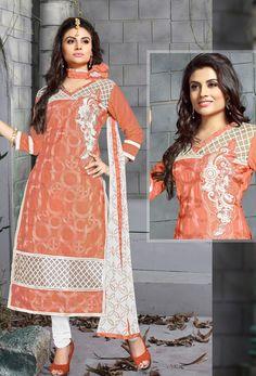 Dark Peach #Chanderi #Cotton #Straight Cut #Suit #nikvik  #usa #designer #australia #canada #freeshipping #dress #suits #pakistani