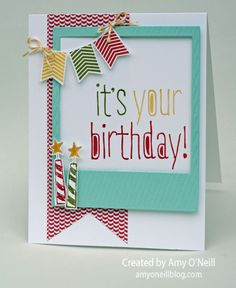 Amy's fun card: Big News, Banner Banter, On Film framelits, & Banner Punch. All supplies from Stampin' Up!