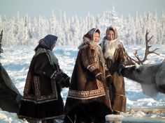 Nomadic Nenets women, Siberian Arctic.