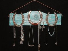 "Upcycled Horseshoe Solid Wood 18"" X 5"" Distressed Turquoise, Western, Rustic, Shabby Chic Jewelry Hanger"