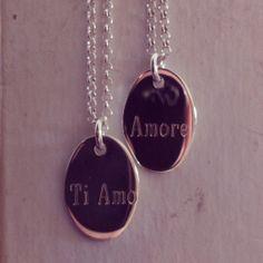 Apa Design Italian LOVE letters Sterling Silver Necklace Custom Handmade Ti Amo & Amore