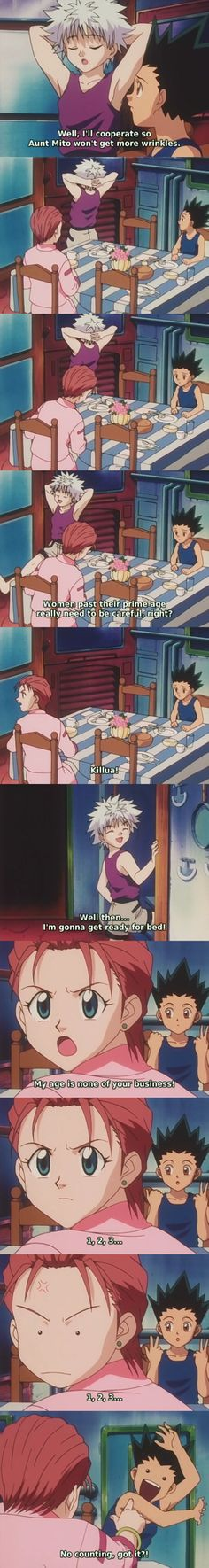 Asdfghjklim laughing so hard right now omg. || Tags: [ #Killua | #Gon | #Mito-san ]