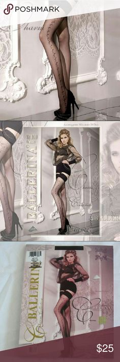 "Women Stocking, tights, pantyhose Studio collants ballerina ""KATRINA"" refined black stay ups with Elegance embroidery on the leg and a finishing Floral lace design at the top of the stocking Studio Callants Ballerina Accessories Hosiery & Socks"