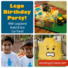 Includes free Silhouette File for the t-shirts, pinata and Lego head decoration. Also an easy way to make a Lego car track out of a folding table.
