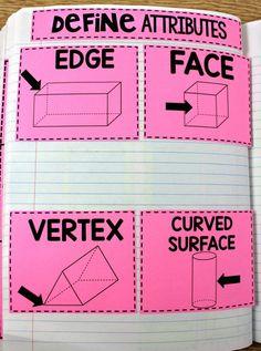math journals, geometric solids, 3D shapes, interactive math notebooks