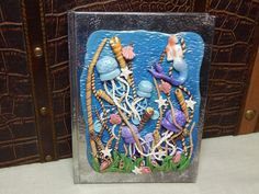 Ocean Dreams  Polymer Clay Sculpted Hardcover Journal by WyndsongDesigns, $149.95