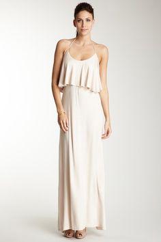 American Twist  Beige Ruffle Halter Maxi Dress