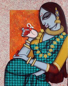 Buy Rhythmic 13 artwork number a famous painting by an Indian Artist Varsha Kharatmal. Indian Art Ideas offer contemporary and modern art at reasonable price. Madhubani Art, Madhubani Painting, Kalamkari Painting, Indian Art Paintings, Buy Paintings, Indian Traditional Paintings, Indian Artwork, Canvas Paintings, Indian Folk Art