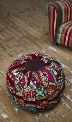 Pouf made of vintage kelim pieces with dark purple leather seat, cording and base. Floor Cushions, Pin Cushions, Pillows, Hippie Bohemian, Bohemian Decor, Textiles, Purple Leather, Soft Furnishings, Living Room Decor