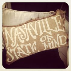 Your Custom Phrase Burlap pillow - Nashville State of Mind - Tennessee - college - wedding on Etsy, $32.00
