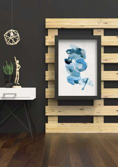 Blue Living Room Art - Geometric Living Room Art - Geometric Blue Art - Colorful Living Room Art