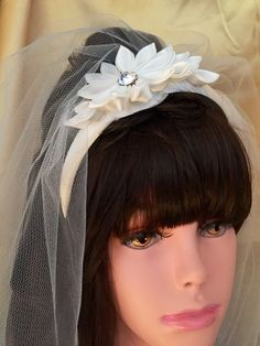 First comunion headband with veil by 3BusyBirds on Etsy