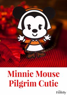 Before you sit down for Thanksgiving dinner, let the kids assemble this adorable Minnie Mouse Pilgrim Cutie. Then display it proudly alongside Mickey to add some magic to your festive table.