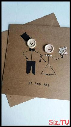 Wedding card mr and mrs marriage wedding day greetings card kraft buttons bride groom is part of Wedding cards handmade - A lovely quirky wedding card with stickman bride and groom Handmade on card with 120 gsm envelope and measures Wedding Anniversary Greeting Cards, Wedding Day Cards, Wedding Card Messages, Anniversary Crafts, Homemade Anniversary Gifts, Anniversary Funny, Wedding Cards Handmade, Greeting Cards Handmade, Quirky Wedding